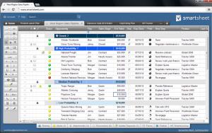 Organisation-Software Smartsheet: Blick auf eine Tabelle