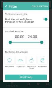 Too good to go: Filter in der App