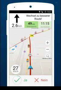 Google-Maps-Alternative NavMii: Screenshot aus der App