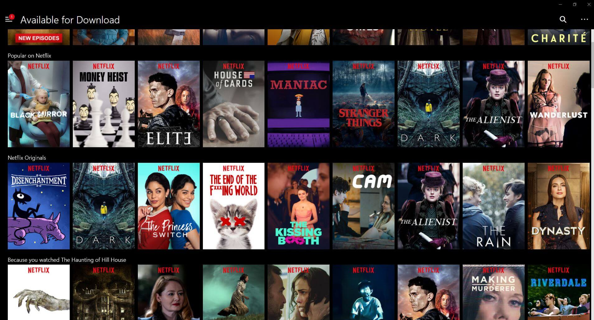 Netflix-Serien downloaden: Screenshot von der App